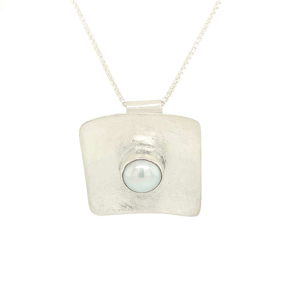 STERLING SILVER FRESH WATER PEARL SQUARE PENDANT - CHAIN NOT INCLUDED