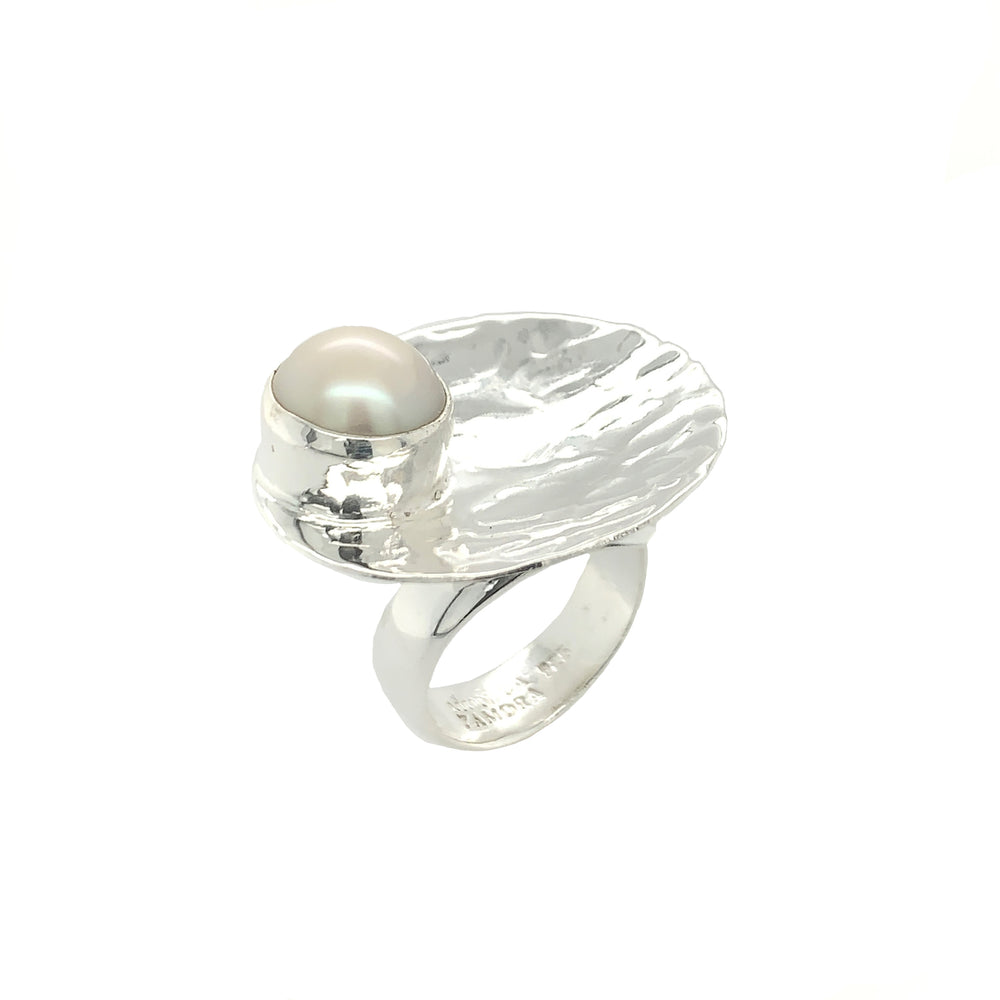 STERLING SILVER FRESH WATER PEARL DISK ADJUSTABLE RING