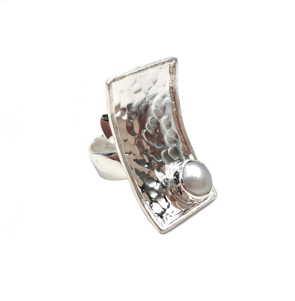 STERLING SILVER FRESH WATER PEARL RECTANGLE ADJUSTABLE RING