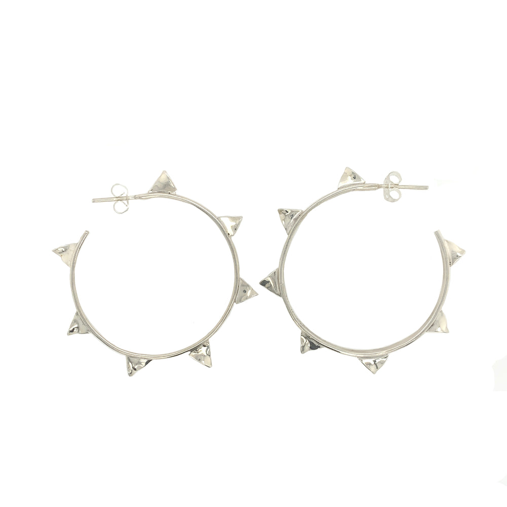 STERLING SILVER THORN HOOP EARRINGS