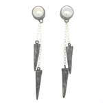 STERLING SILVER SPIKE AND CHAIN WITH FRESHWATER PEARL EARRINGS