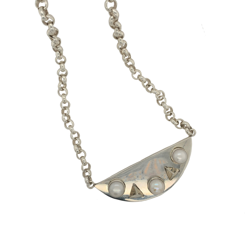STERLING SILVER FRESH WATER PEARL SPIKE NECKLACE