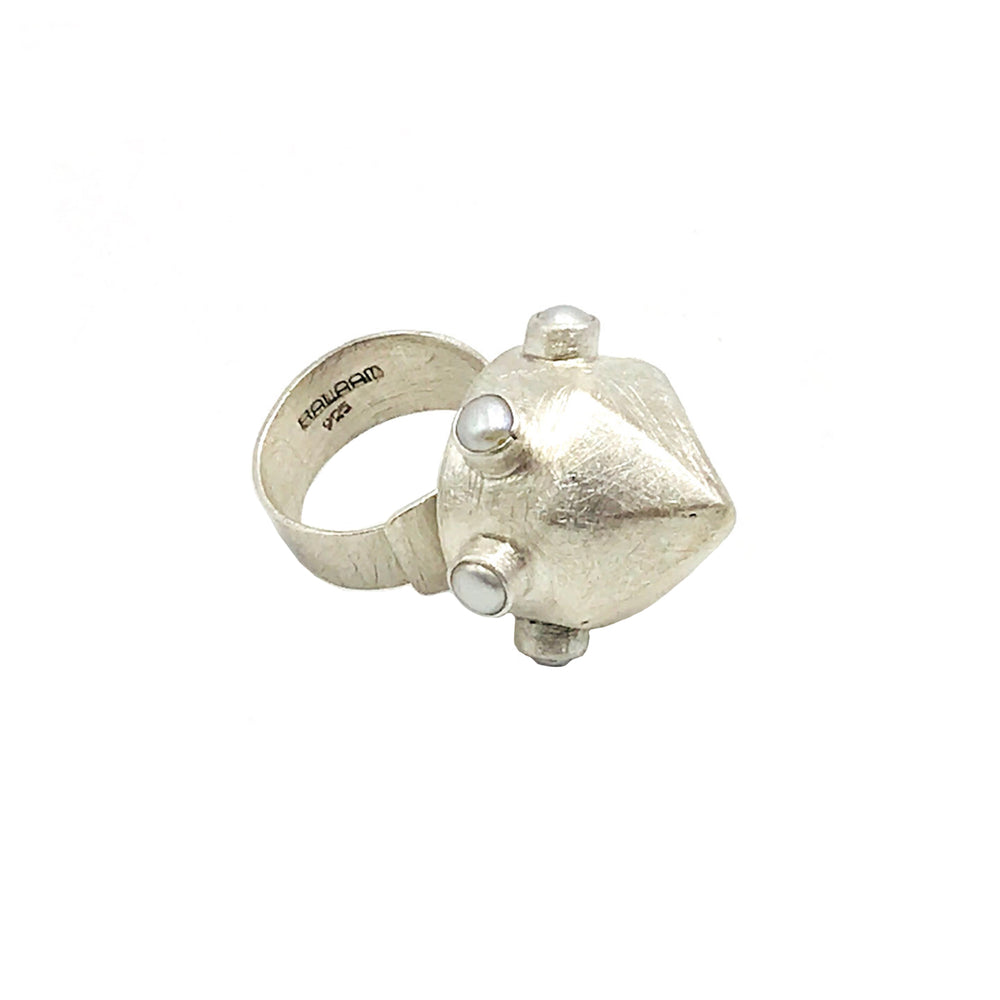 STERLING SILVER FRESH WATER PEARL BULLET ADJUSTABLE RING