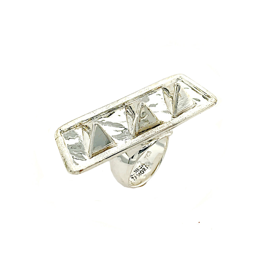 STERLING SILVER SPIKE BAR ADJUSTABLE RING