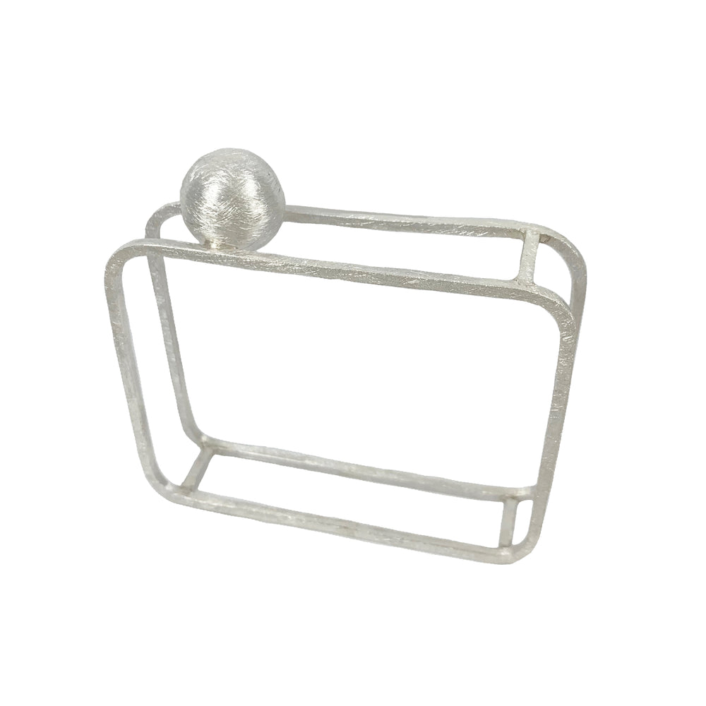 STERLING SILVER SPHERE 16 SQUARE BANGLE