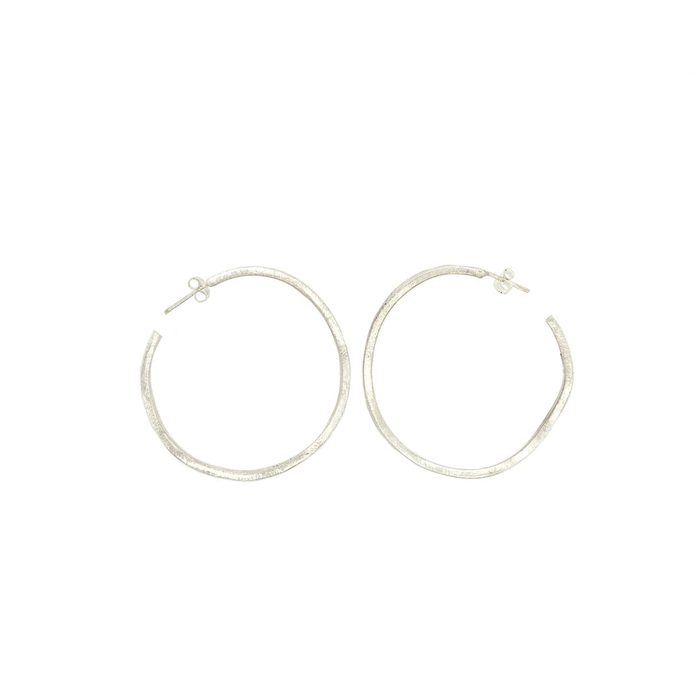 STERLING SILVER OPEN ROUND WAVY HOOPS  EARRINGS