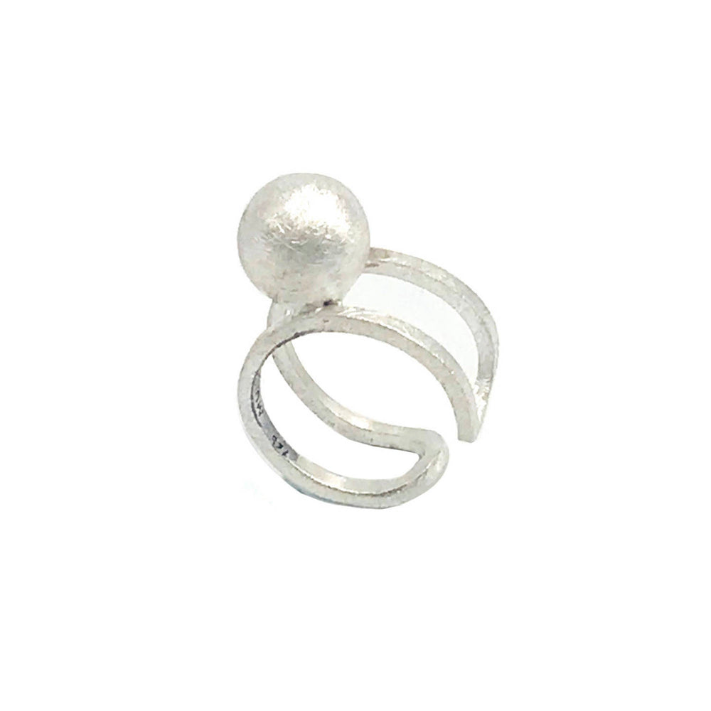 STERLING SILVER SPHERE 12 ADJUSTABLE RING