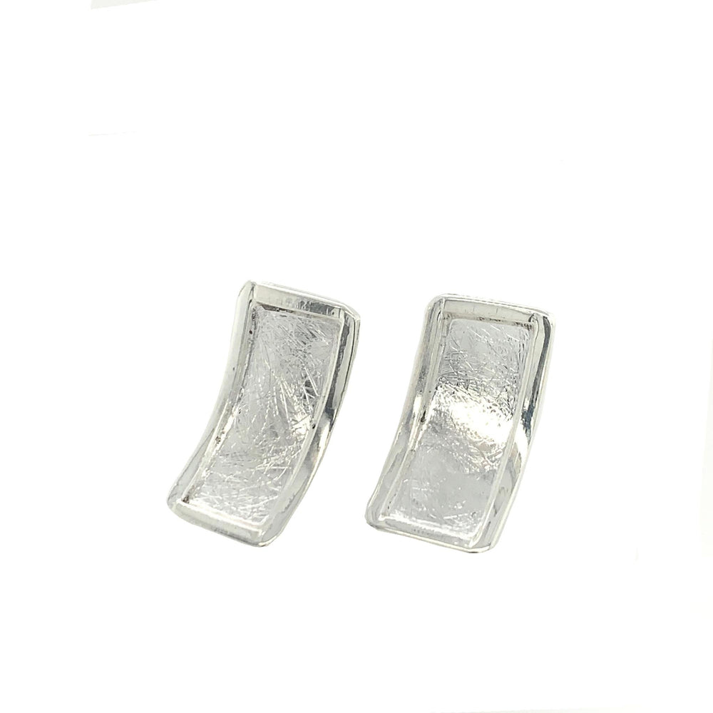 STERLING SILVER RECTANGULAR POST EARRING