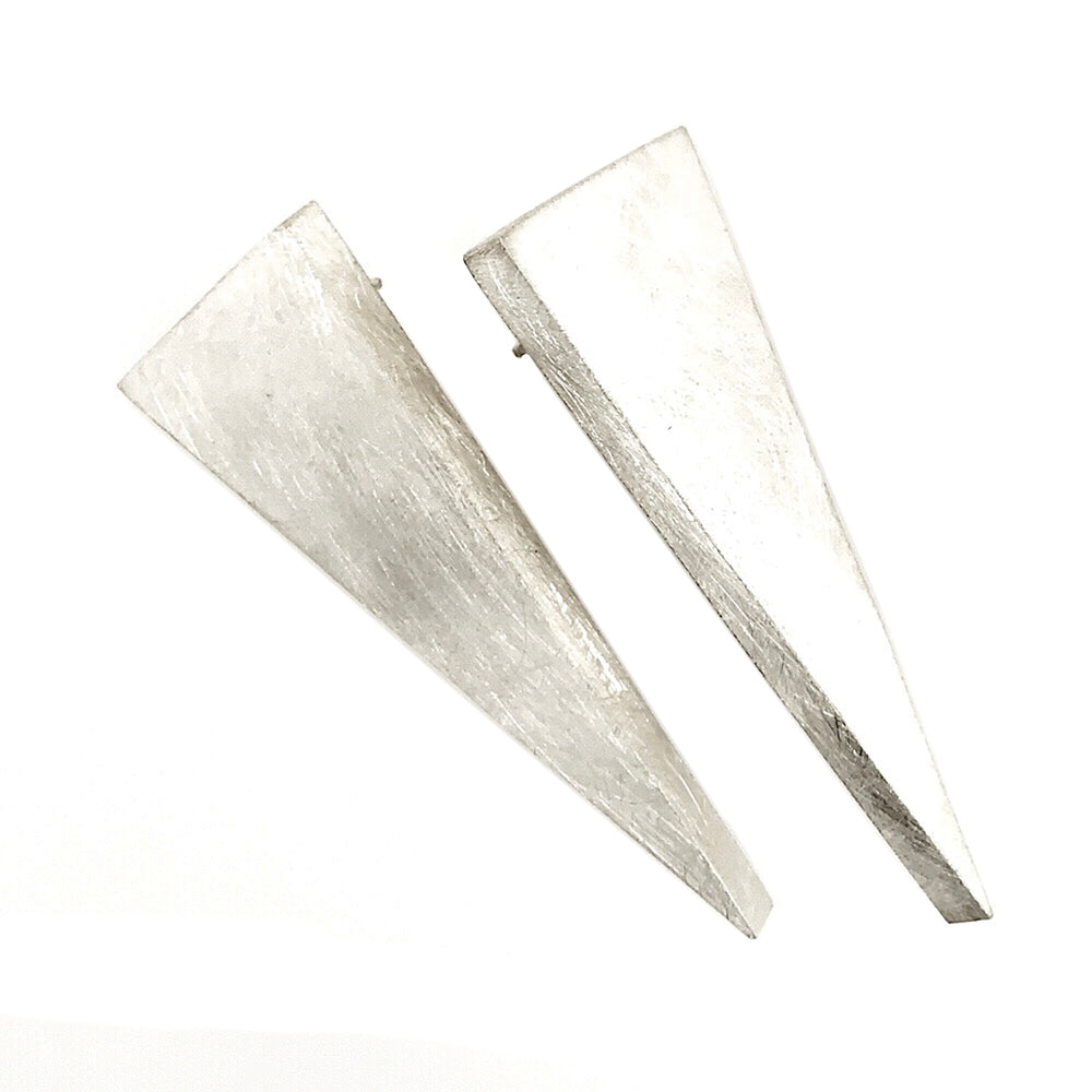 STERLING SILVER TRIANGLE BOX POST EARRINGS
