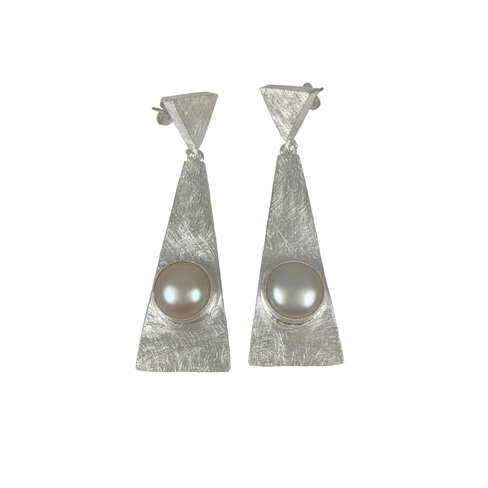 STERLING SILVER FRESH WATER PEARL TRIANGLE POST EARRINGS