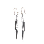STERLING SILVER SPIKE AND CHAIN EARRINGS