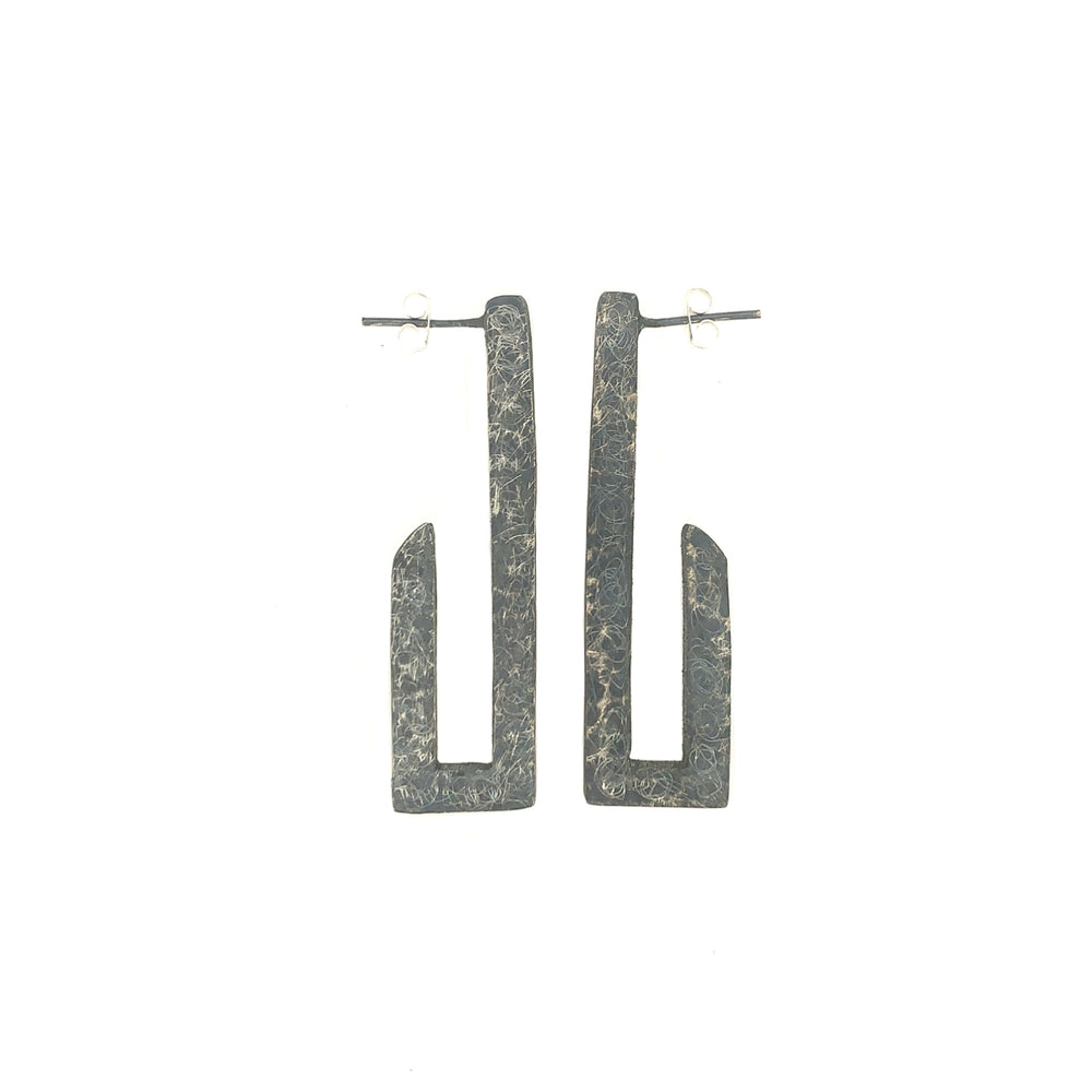 STERLING SILVER ELONGATED HOOP POST EARRINGS