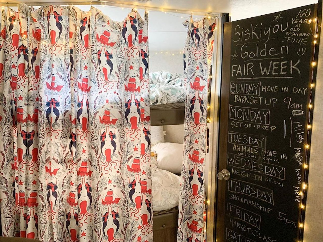 Pattern Players: Mary Heffernan of Five Marys Farm | Mermaids Red Coral shower curtain | Dinara Mirtalipova | Hygge & West