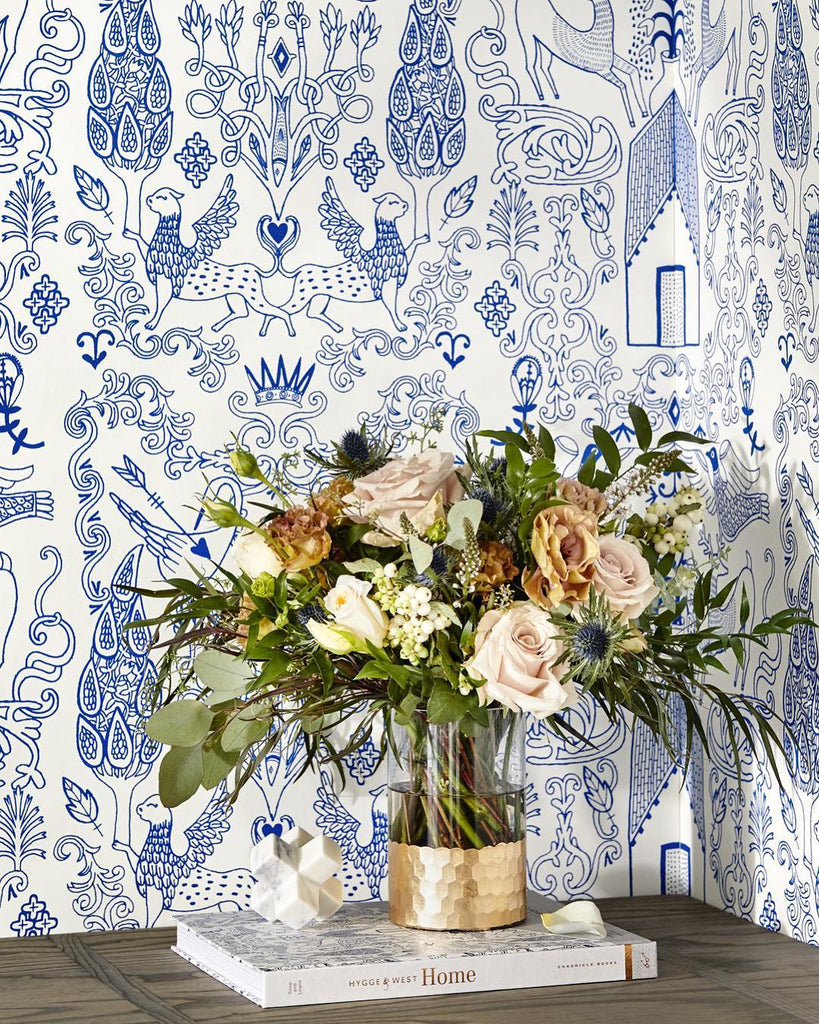 Nethercote Blue wallpaper | Julia Rothman | Hygge & West