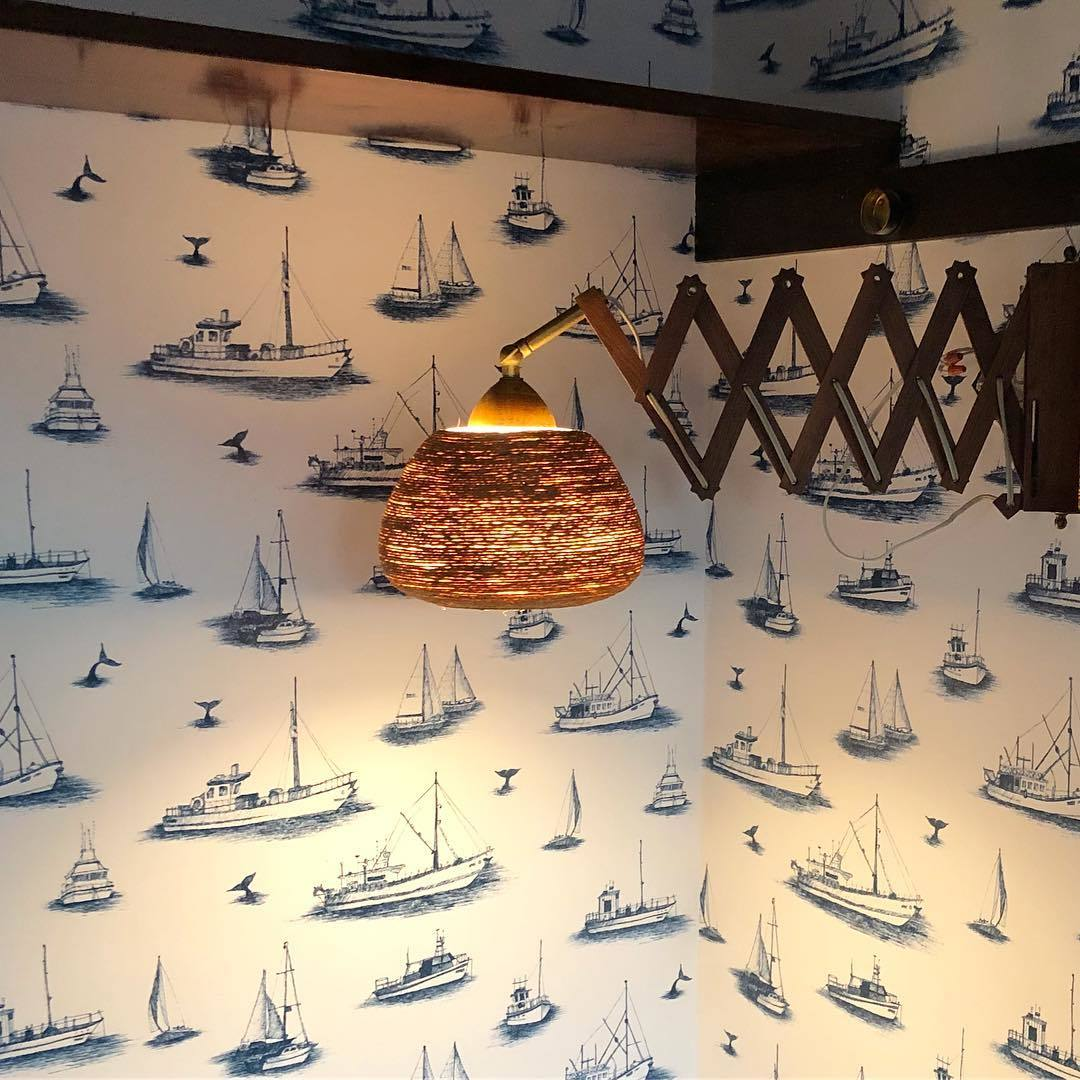 Pattern Players | Deidre Webster | Design in Rare Form | Ahoy Navy wallpaper | Allira Tee | Hygge & West