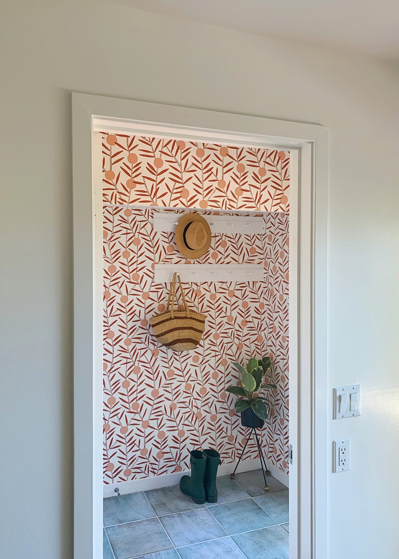 Entryway before & after | Bloom Dusty Rose wallpaper | Emily Isabella | Hygge & West