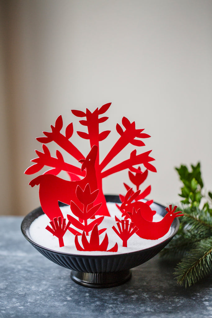 Holiday Crafting with Sweet Paul | Otomi Red wallpaper DIY diorama | Emily Isabella | Hygge & West