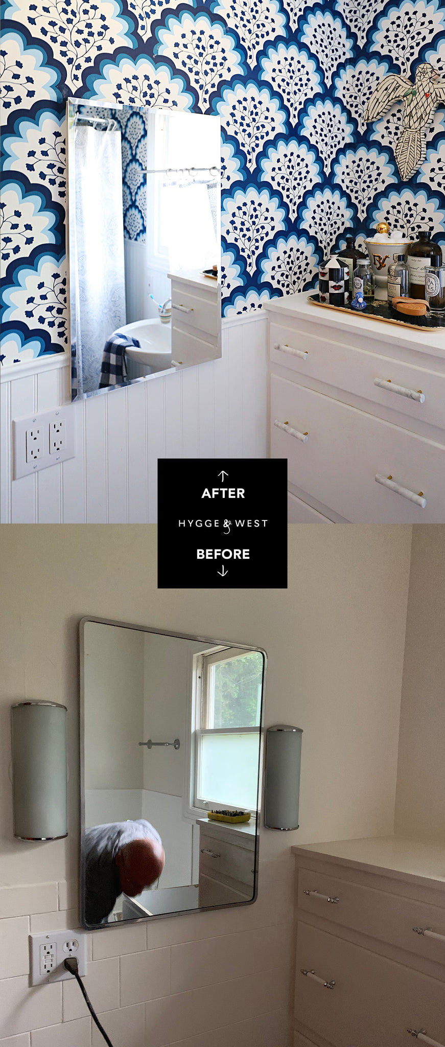 Angelina Navy Bathroom Before & After | Hygge & West