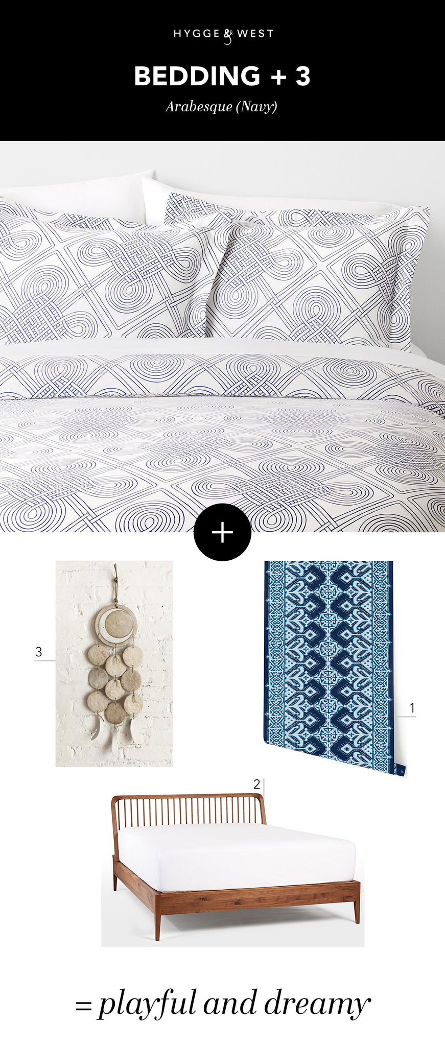 Arabesque (Navy) Bedding + Pombal (Navy/Sky) | Hygge & West