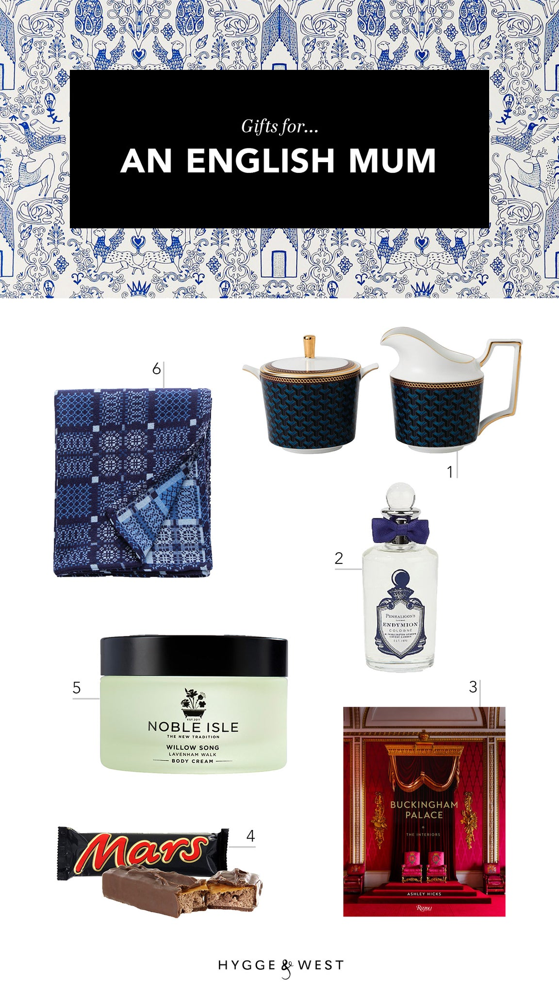 Mother's Day gift guide | Nethercote Blue wallpaper | Julia Rothman | Hygge & West