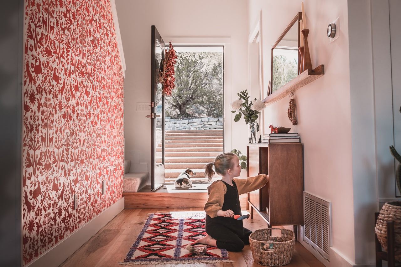 Folklore wallpaper in Red | Emily Isabella for Hygge & West | Sarah Fremont's Scandinavian-Inspired Pattern-Filled Home