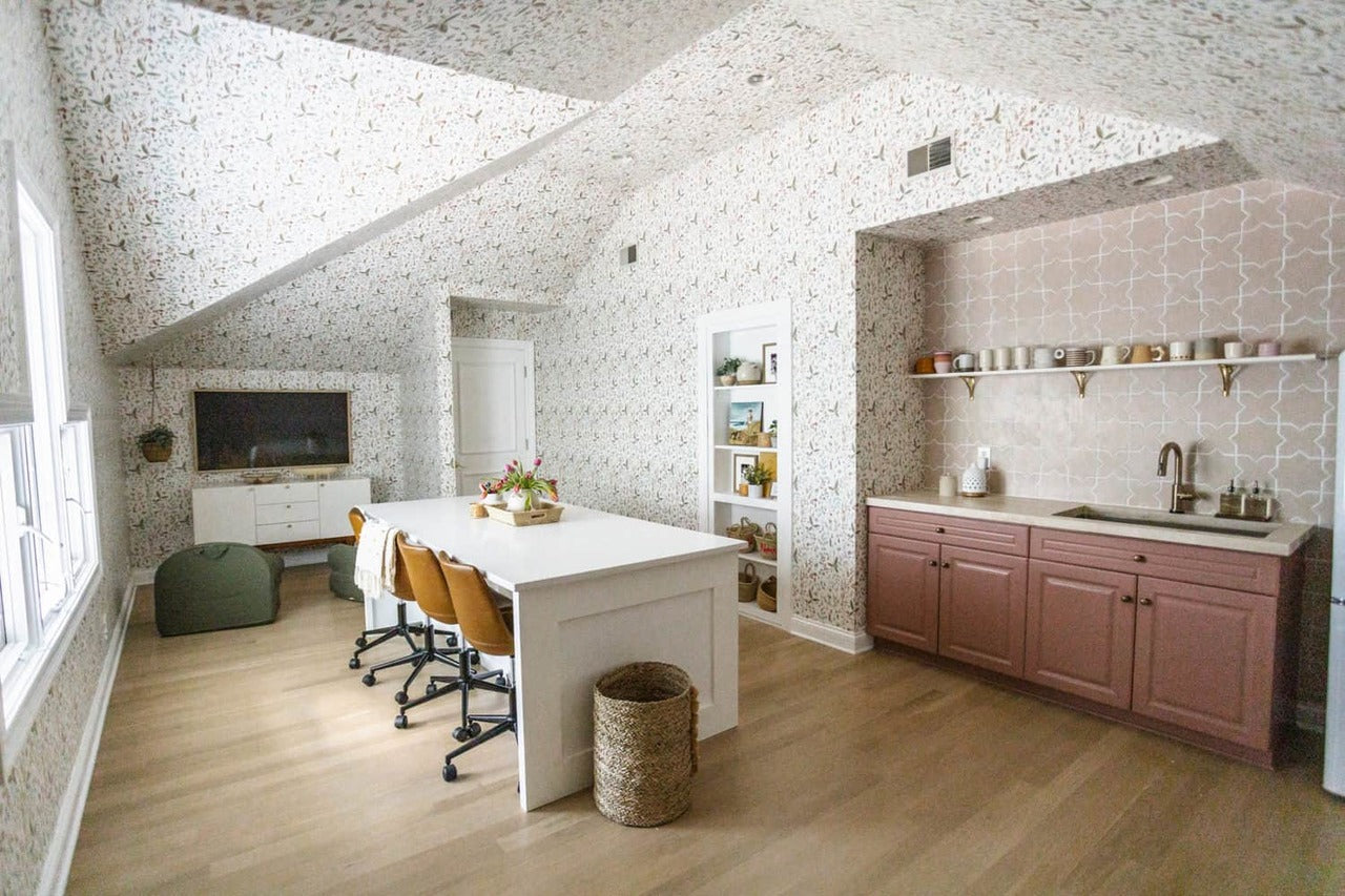 Elsie Larson's cozy Sonoma (White) home office that doubles as a kids' creative play space