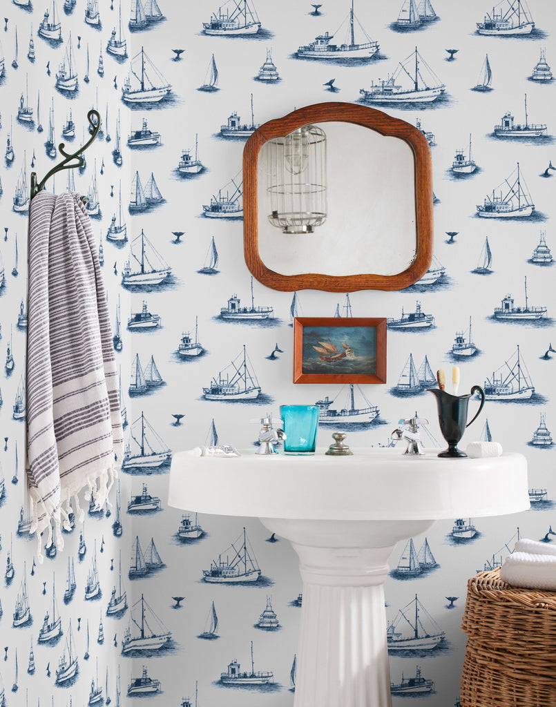 Ahoy! navy wallpaper | Allira Tee | Hygge & West