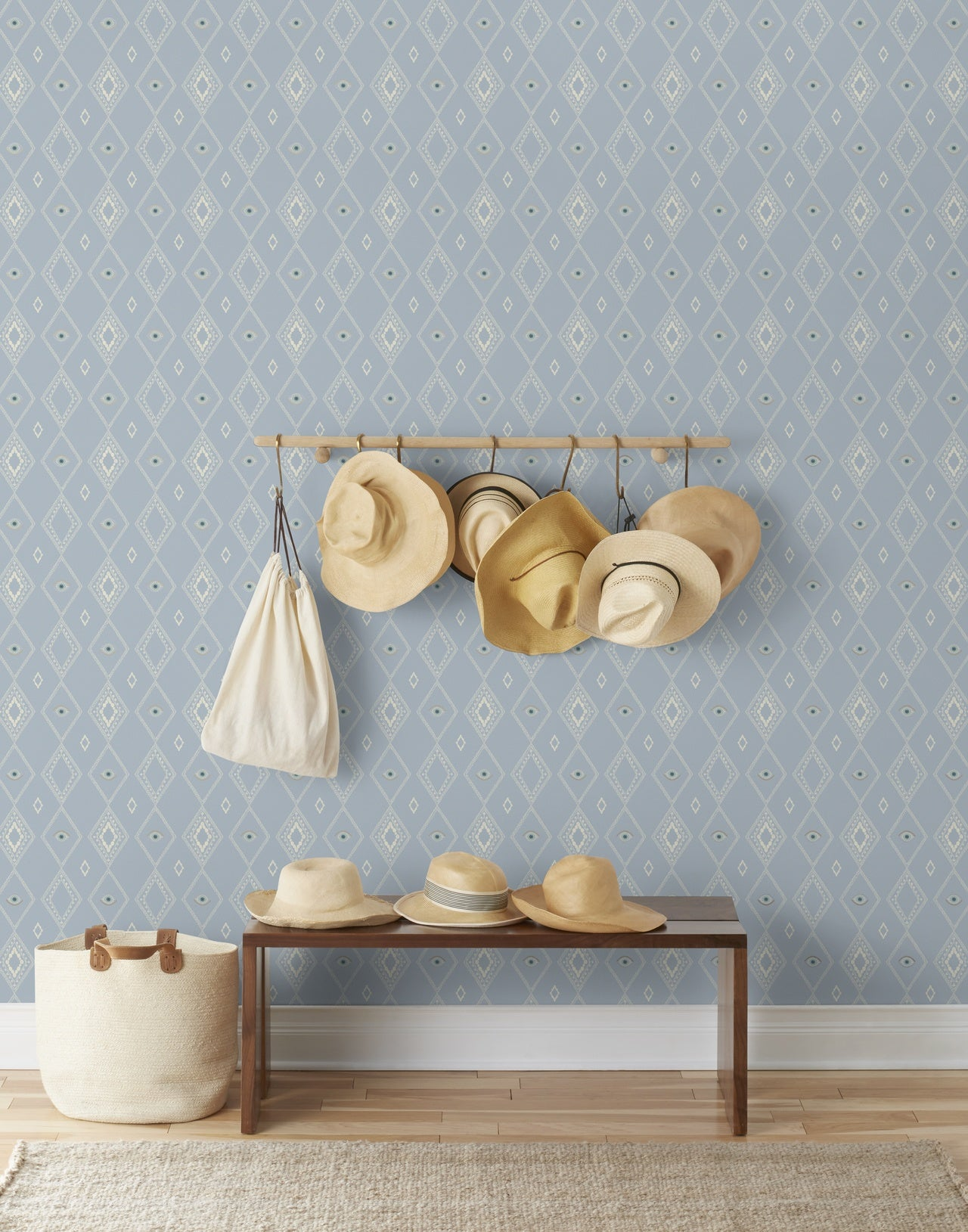 Evil Eye wallpaper in Mist by Coral & Tusk for Hygge & West