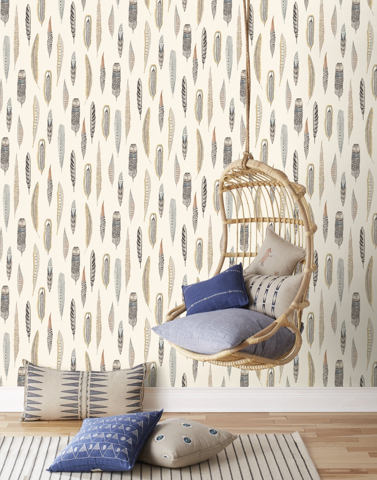 Plumes wallpaper in Natural by Coral & Tusk for Hygge & West