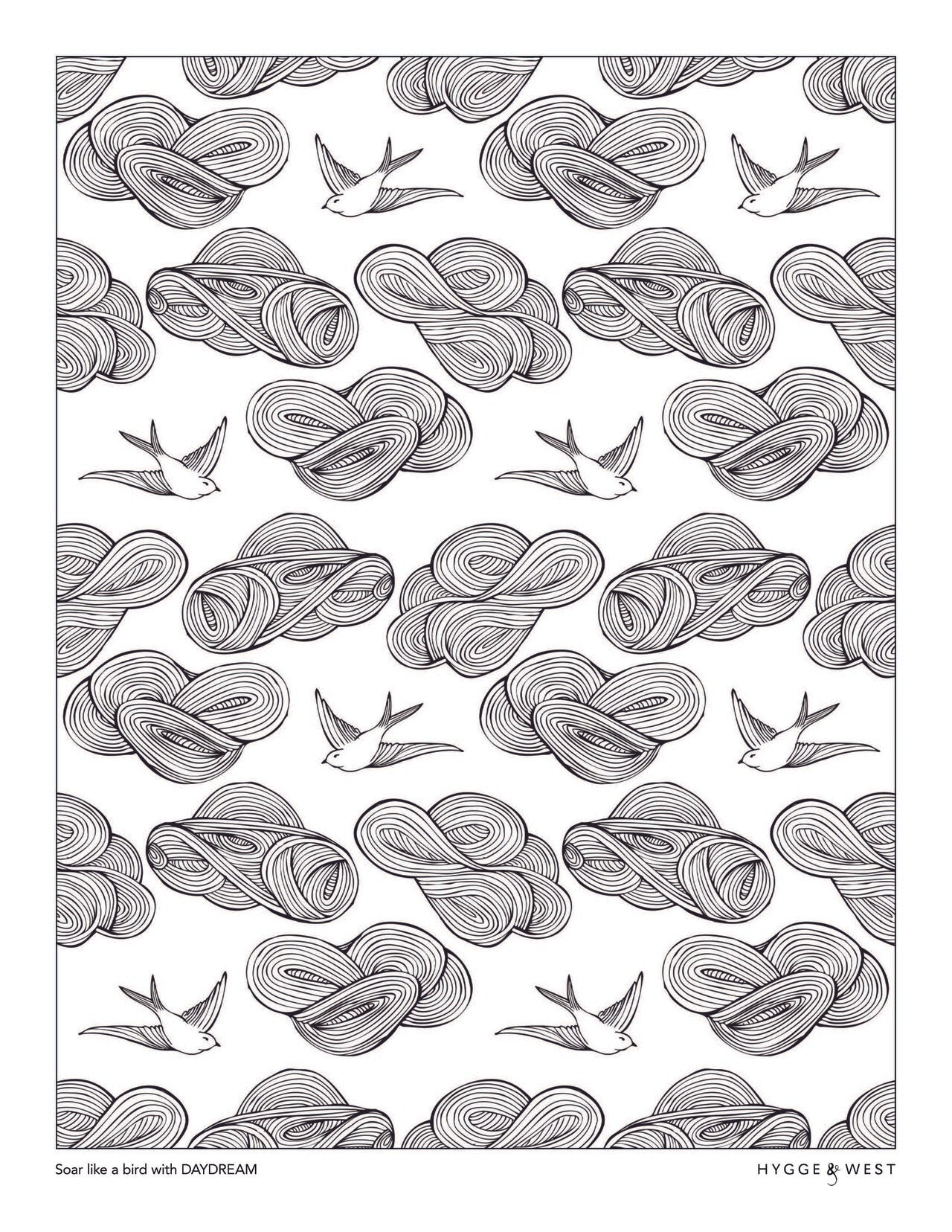 Daydream pattern coloring page | Julia Rothman | modern wallpaper | Hygge & West