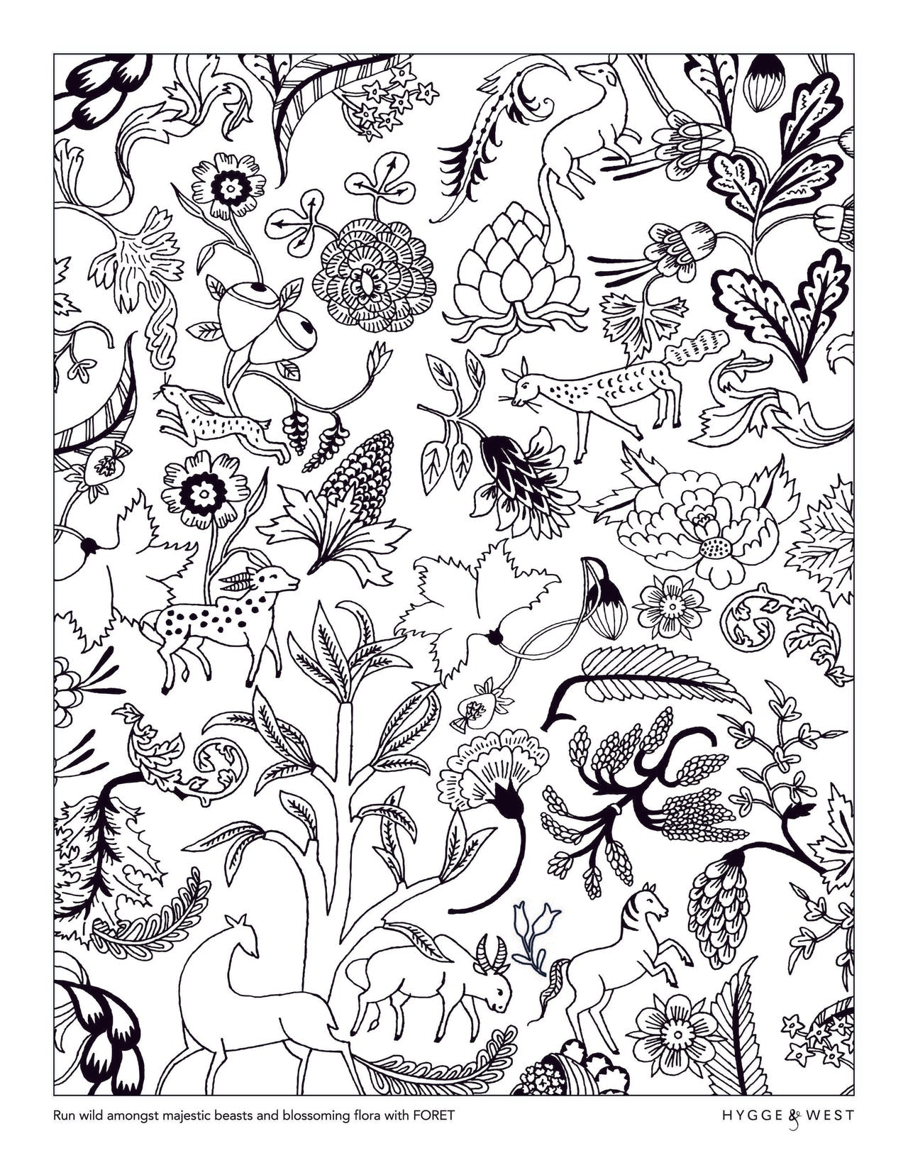 Foret pattern coloring page | Julia Rothman | modern wallpaper | Hygge & West