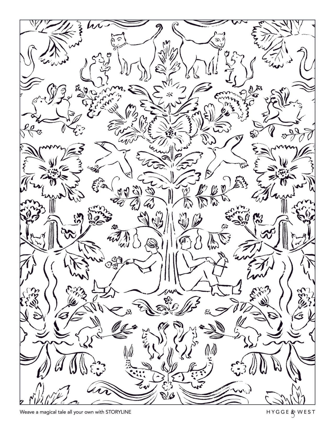 Storyline pattern coloring page | Emily Isabella | modern wallpaper | Hygge & West