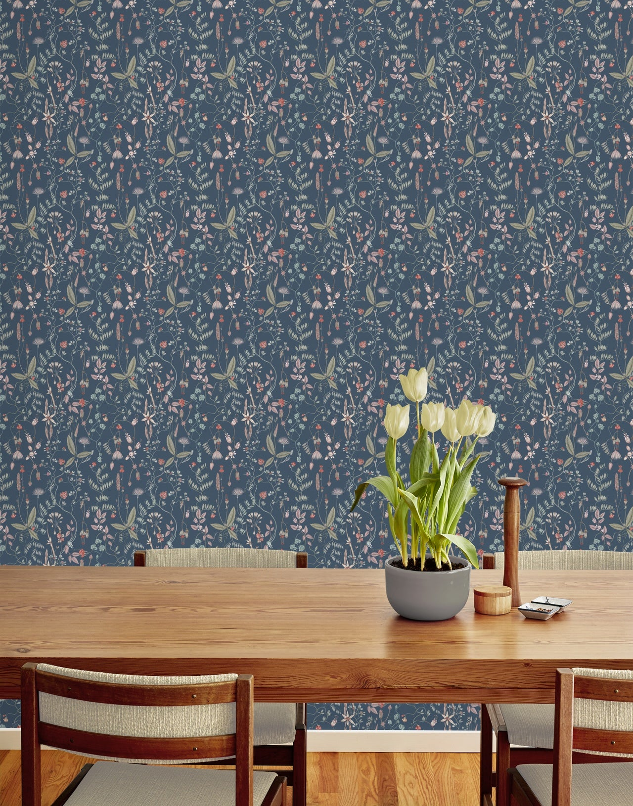 Sonoma Indigo wallpaper | Lisel Jane Ashlock collection | modern floral wallpapers and murals | Hygge & West