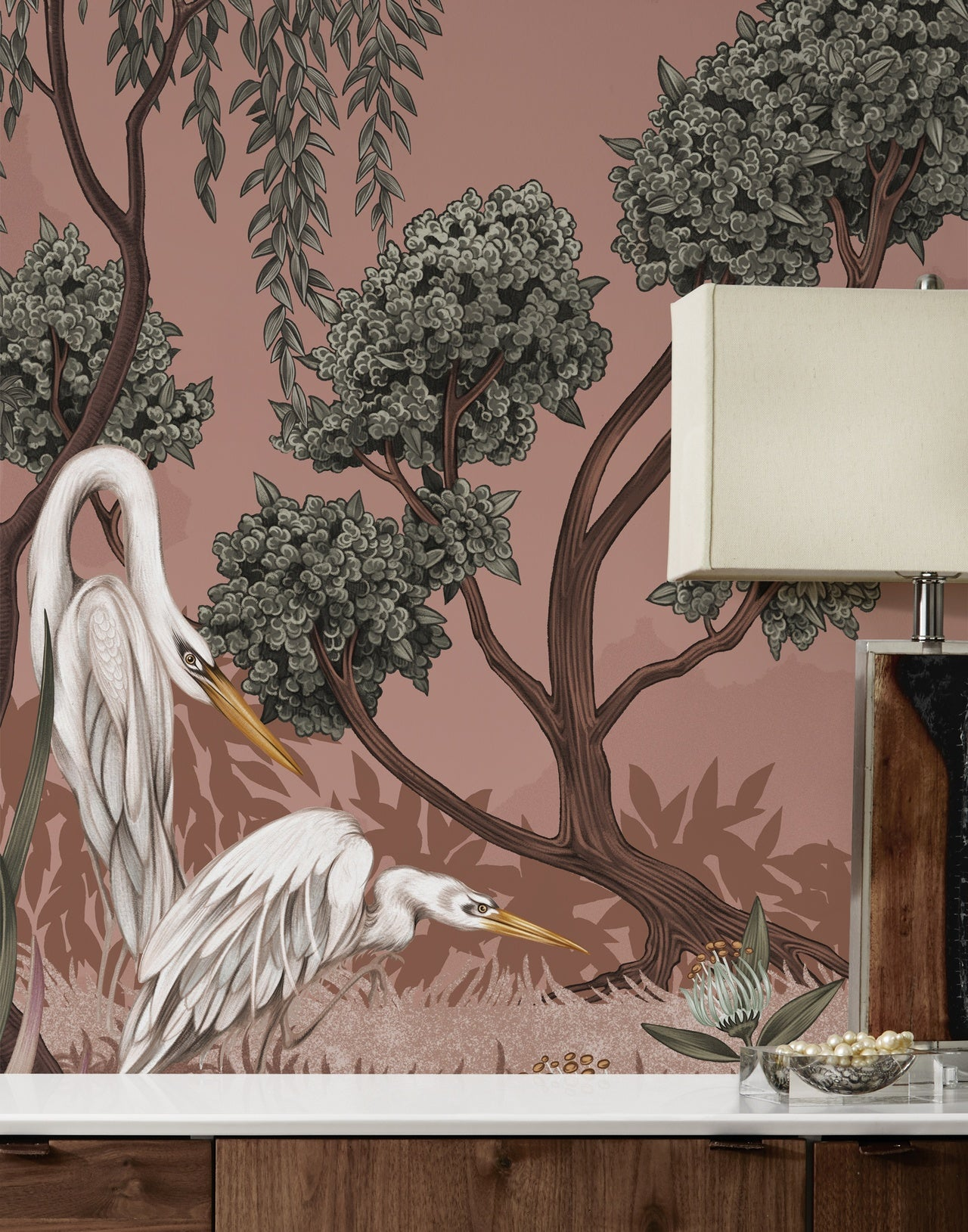 Night Heron Carnelian mural | Lisel Jane Ashlock collection | modern floral wallpapers and murals | Hygge & West