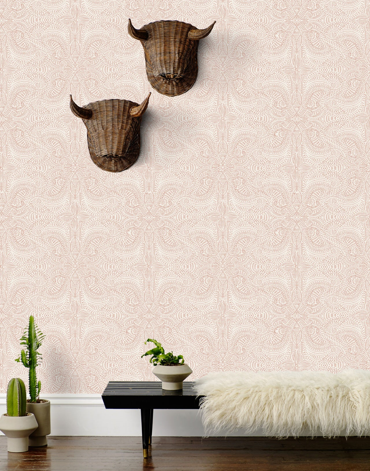 Andanza wallpaper in Blush by Laundry Studio for Hygge & West