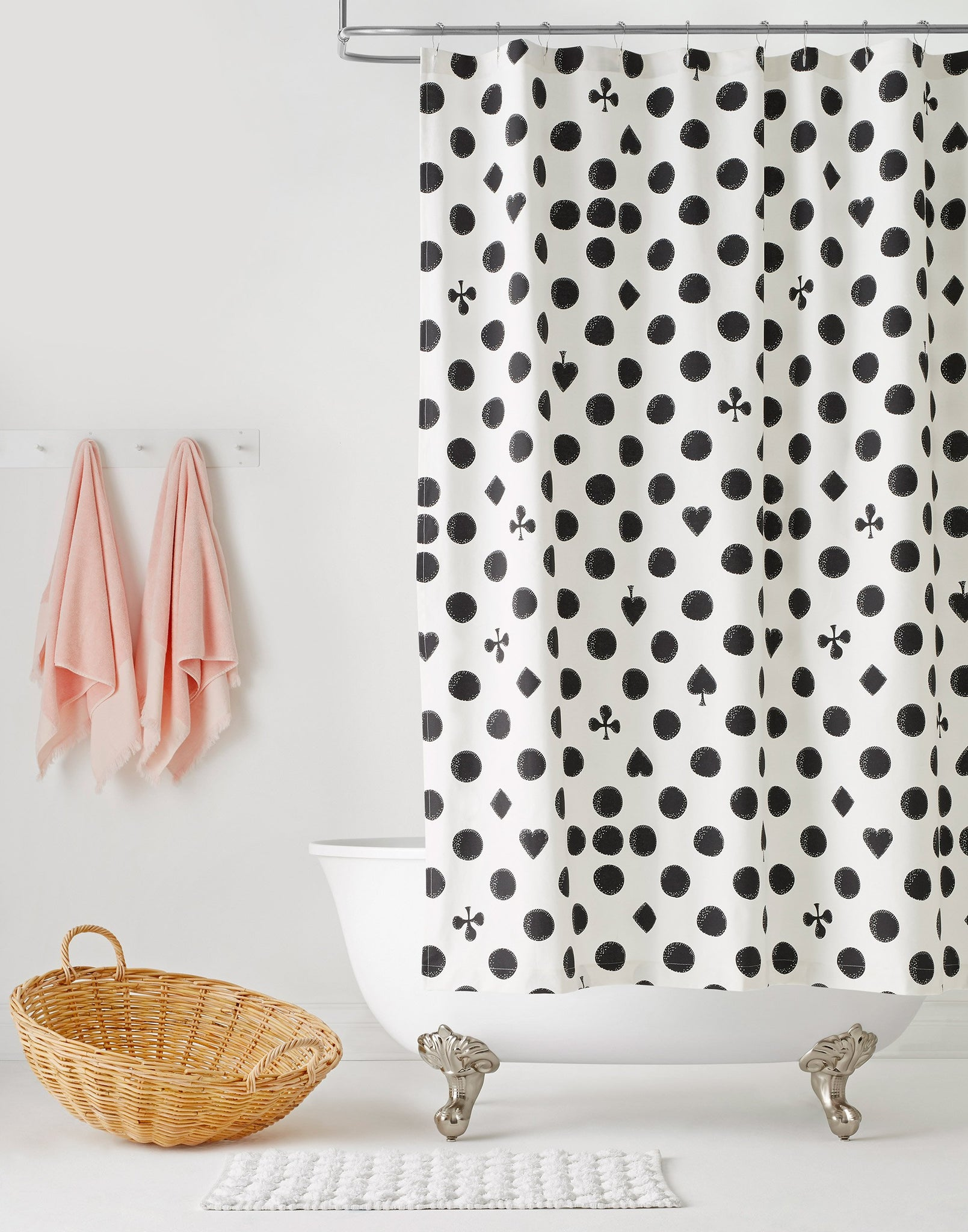 Cards Black shower curtain | Charlotte Janvier | Hygge & West