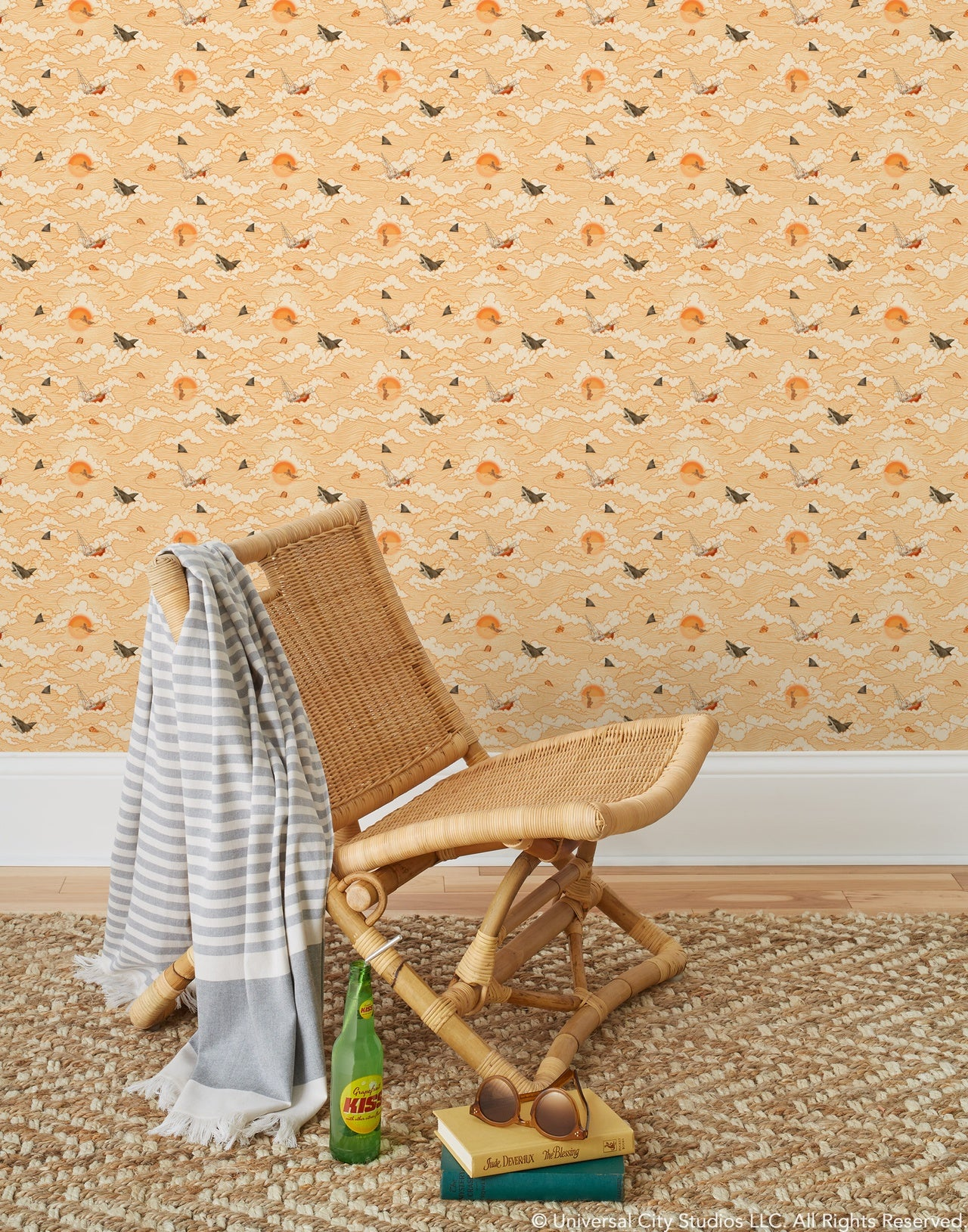 Amity Sunset pattern inspired by the film Jaws and designed by Lisel Jane Ashlock | Universal + Hygge & West wallpaper and shower curtain collection