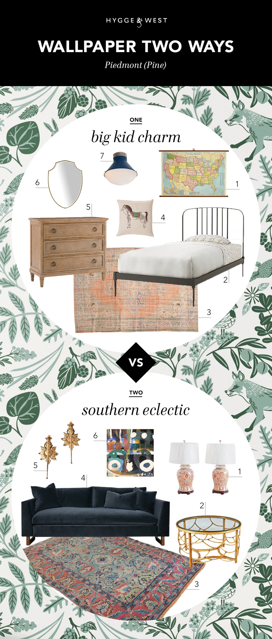 Wallpaper Two Ways: Helmsie | Piedmont Pine wallpaper | Hygge & West
