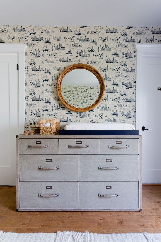 Cities Toile Parchment wallpaper | Rifle Paper Co. | Hygge & West
