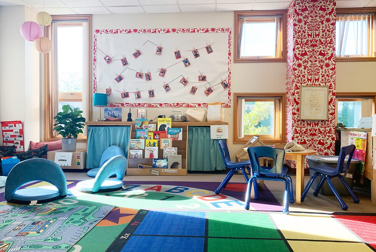 Pattern Players: teacher Kristin Klarkowski | pattern in the classroom | Otomi Red wallpaper | Emily Isabella | Hygge & West