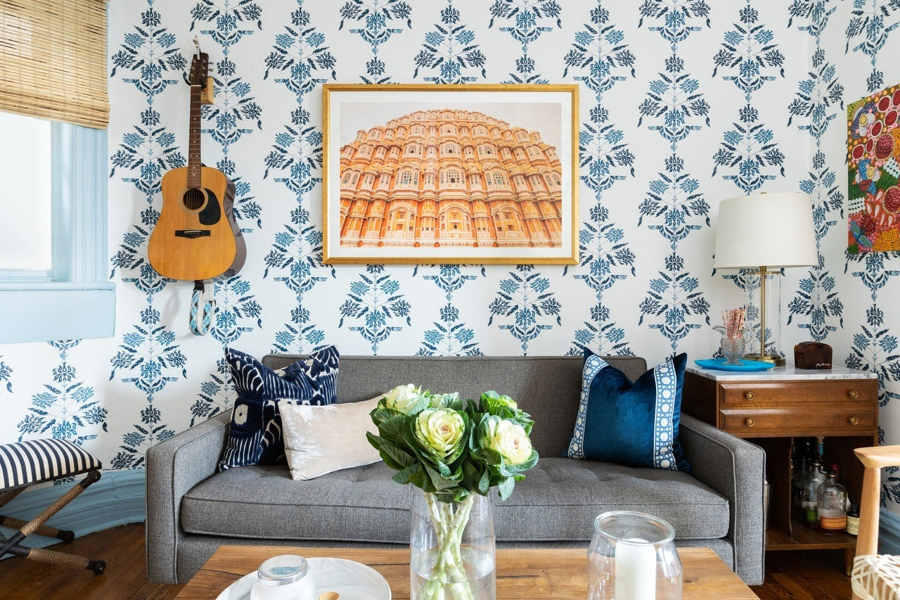 Eclectic living room by Megan Hopp featuring Soldo wallpaper in Navy by Tilton Fenwick for Hygge & West