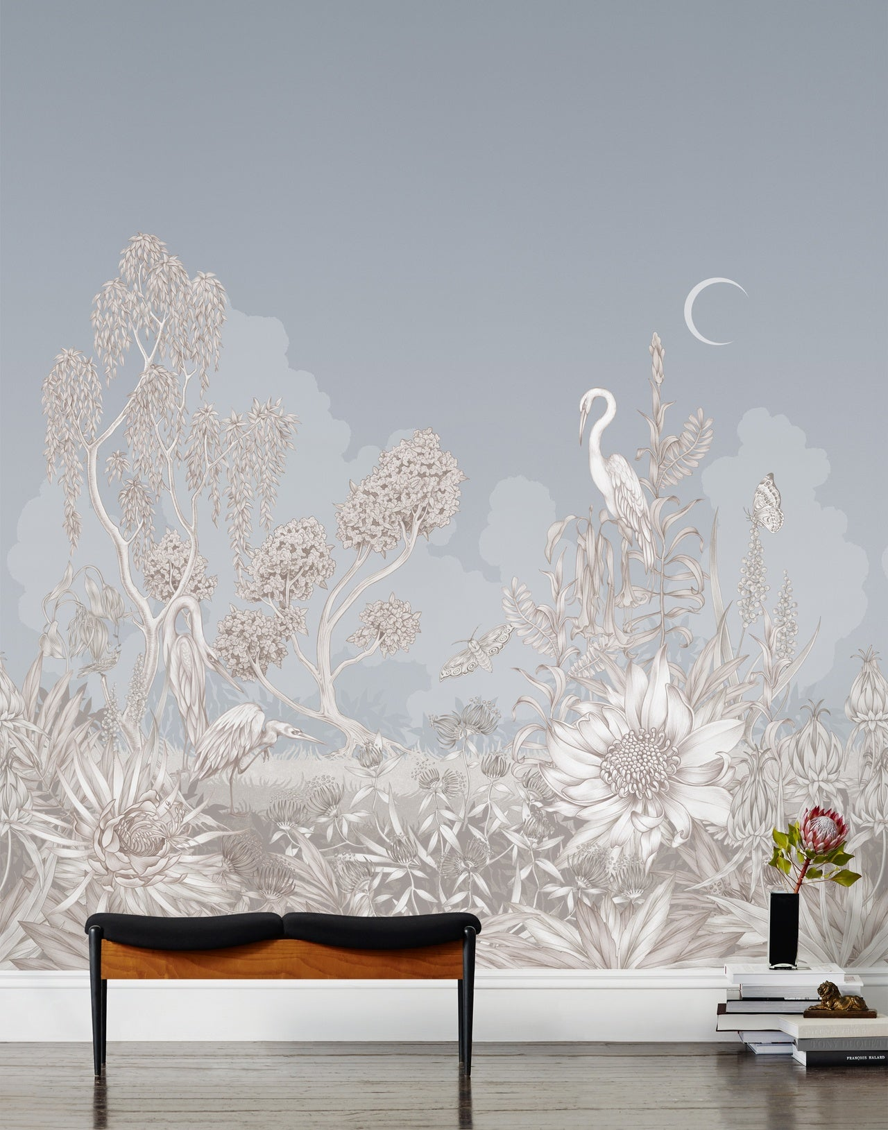 Night Heron Mist mural | Lisel Jane Ashlock collection | modern floral wallpapers and murals | Hygge & West