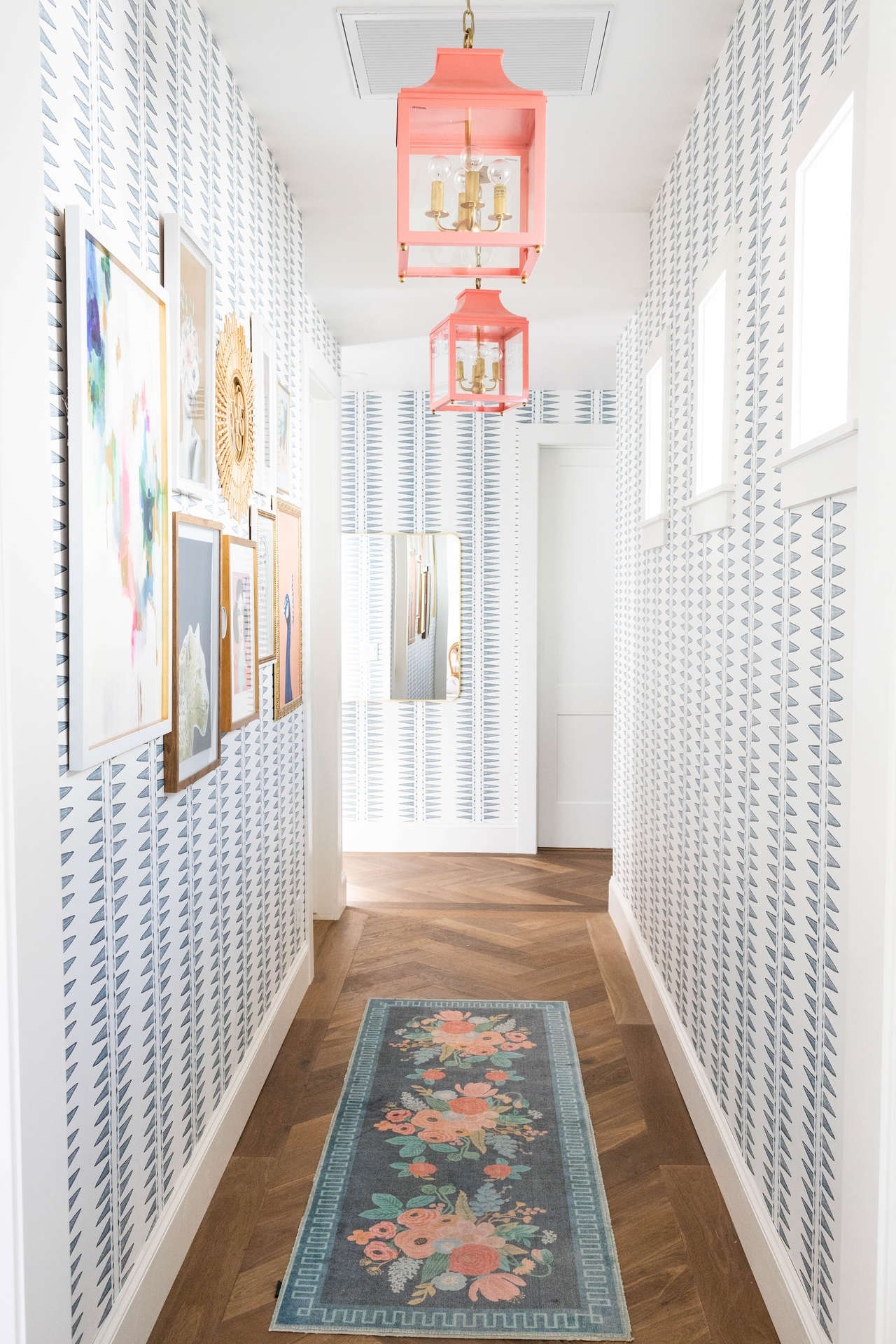 Jo Gick's hallway in Quill (Cadet) wallpaper | Coral & Tusk for Hygge & West