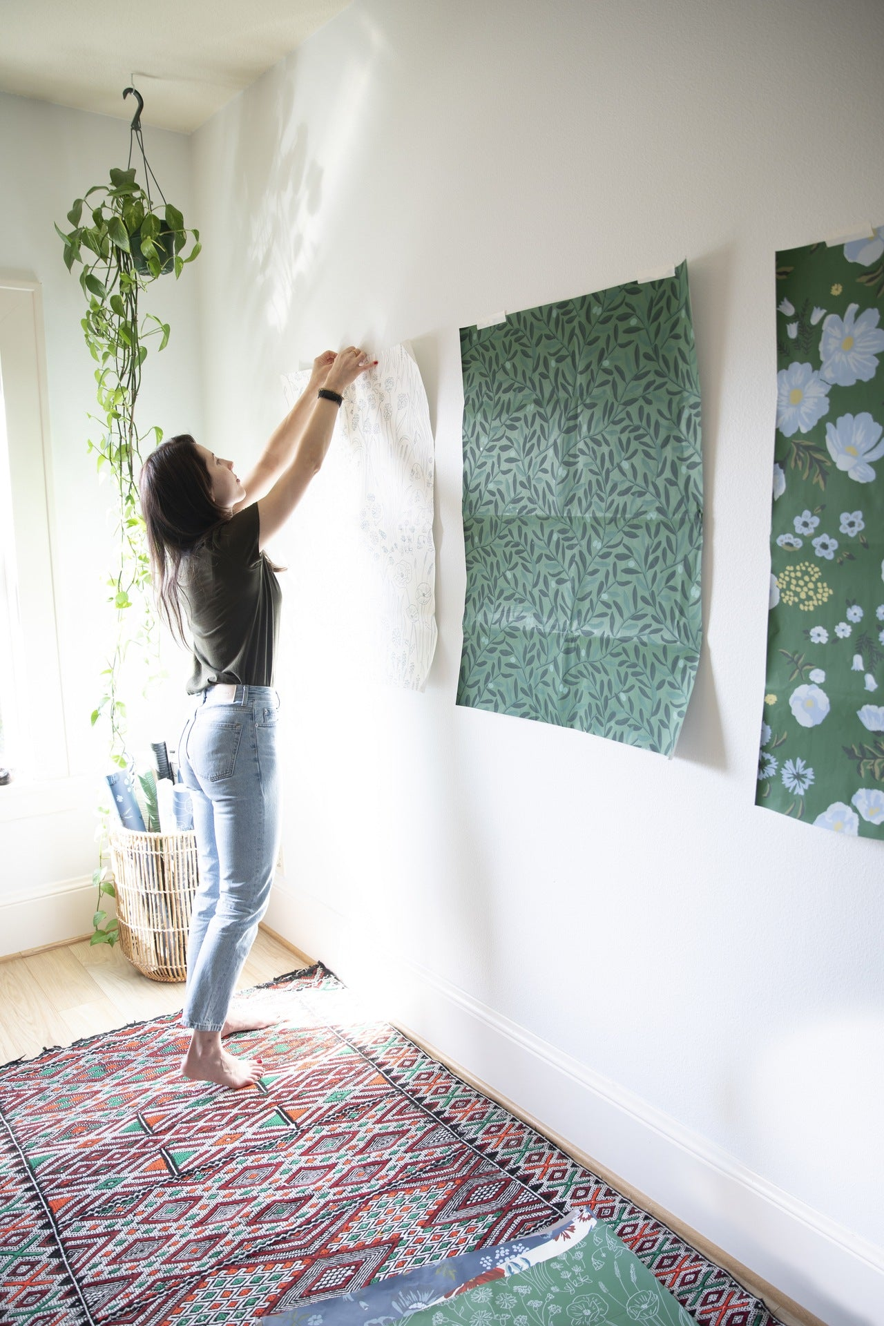 Ola Supernat works on her wallpaper designs in her Portland studio   Meet the designers behind the new Schoolhouse + Hygge & West wallpaper collection