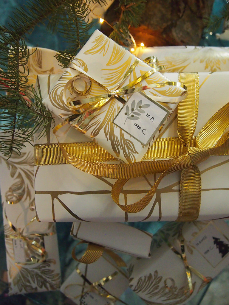 Wallpaper Wrapped Presents Hygge & West Strike (Gold) Damask (Gold) Laundry Studio Heath Ceramics
