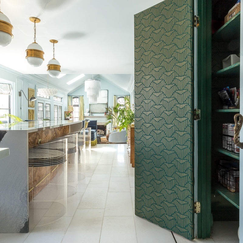 Before & after: a pattern-filled kitchen pantry by Jewel Marlowe featuring Palma wallpaper in Deep Green by Lawson-Fenning for Hygge & West
