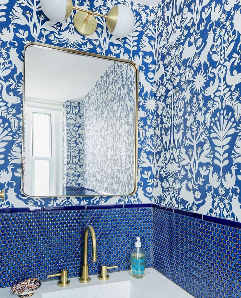 Otomi (Blue) Modern Wallpaper by Emily Isabella x Hygge & West Bathroom Design