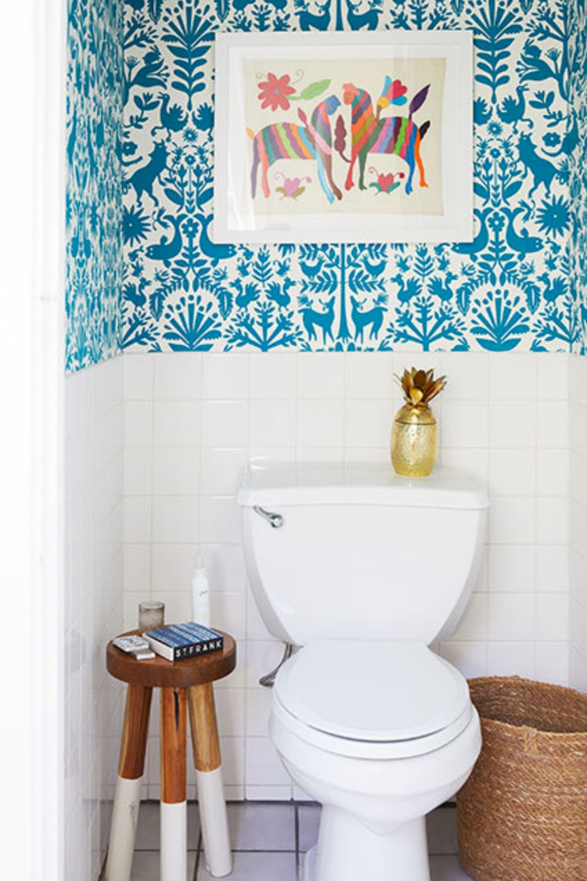 Otomi (Turquoise) Powder Room in Lonny Mag