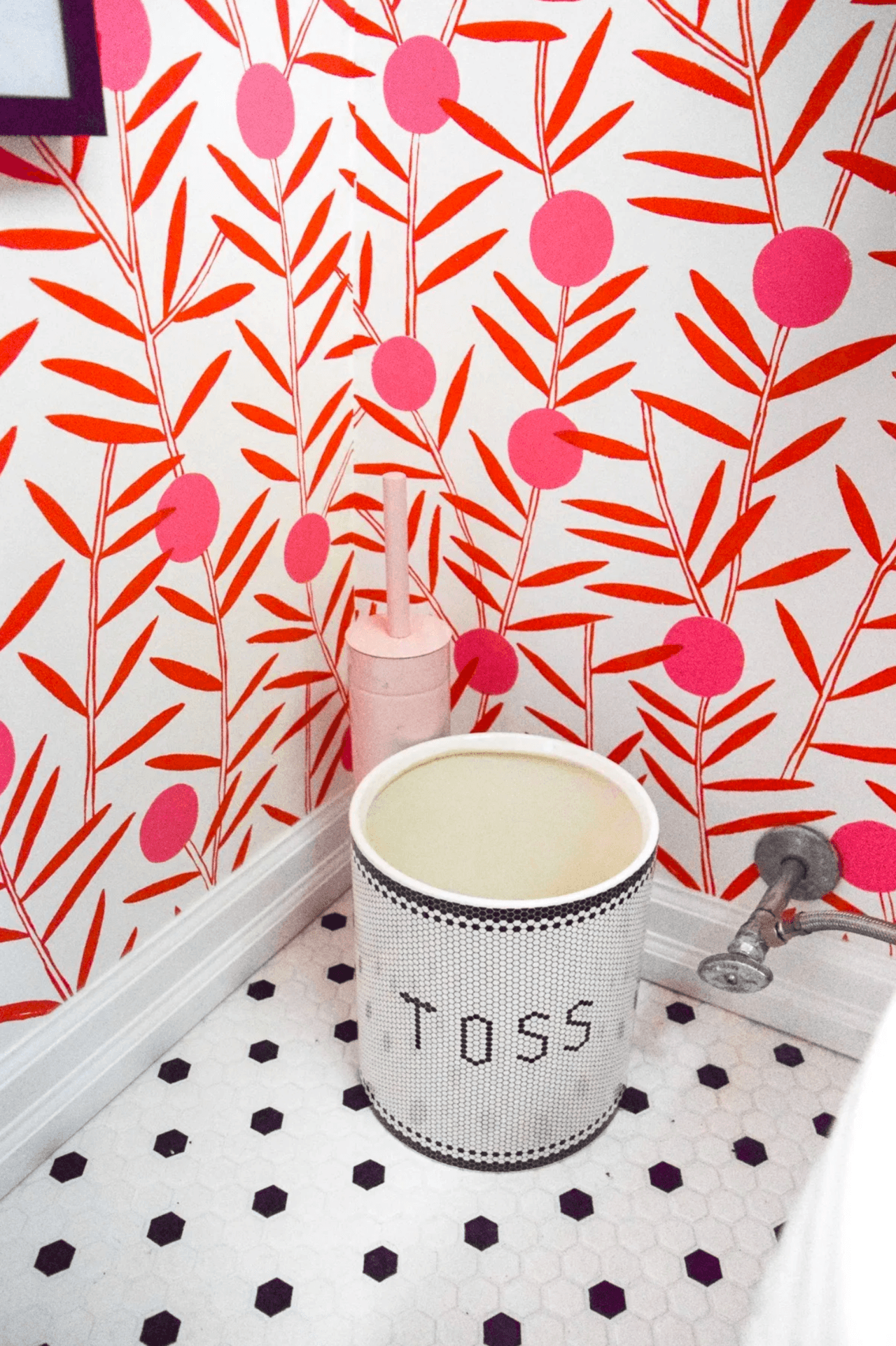 Bloom (Poppy) Powder Room | Hygge & West | Orange and Pink Floral Wallpaper