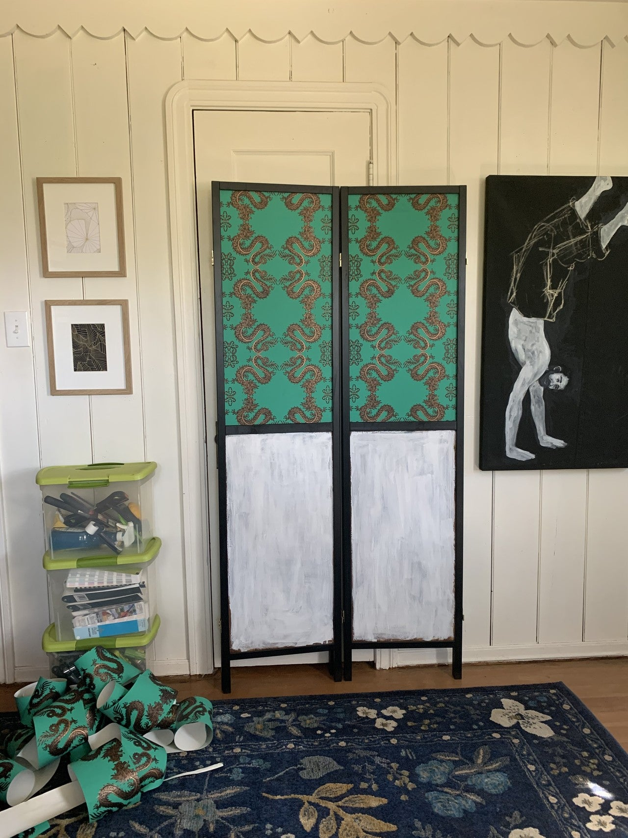 Wallpapered Room Divider Screen | Fortune Emerald | Patch NYC x Hygge & West